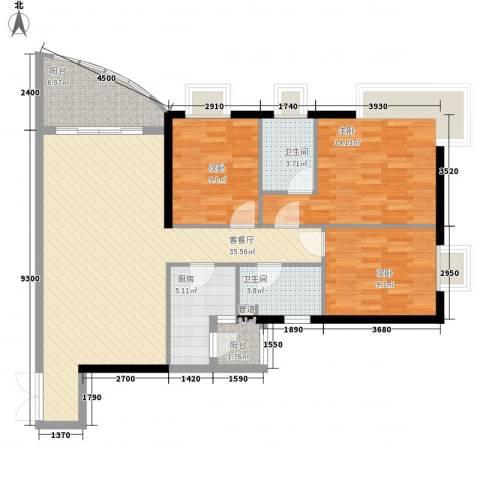 金宝怡庭3室1厅2卫1厨121.00㎡户型图