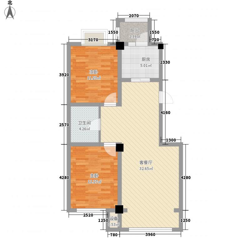 领秀朝阳98.58㎡领秀朝阳户型图二期瞰景高层1、2号楼A户型图2室2厅1卫户型2室2厅1卫
