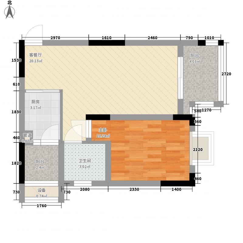 四季花城57.62㎡7#1号房户型1室1厅1卫1厨