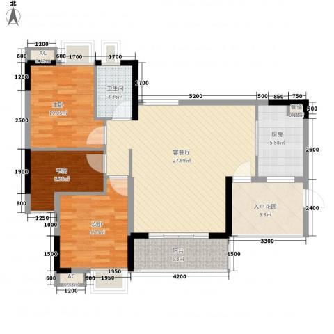 金海怡景花园3室1厅1卫1厨86.88㎡户型图