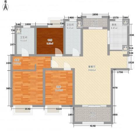 吴中豪景华庭3室1厅2卫1厨143.00㎡户型图