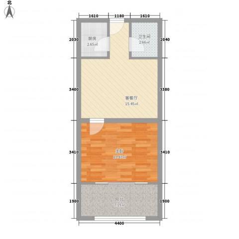 丽欣家园1室1厅1卫1厨59.00㎡户型图