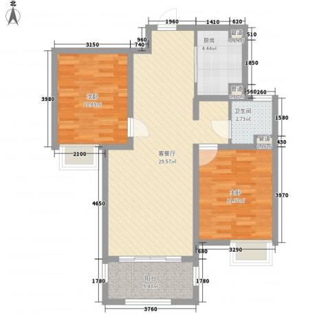 吴中豪景华庭2室1厅1卫1厨94.00㎡户型图