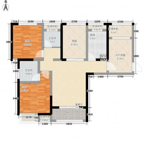 华地紫园2室1厅2卫1厨104.00㎡户型图