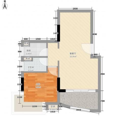 阳光棕榈园二期1室1厅1卫1厨45.87㎡户型图