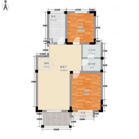 阳光棕榈园二期2室1厅1卫1厨72.51㎡户型图
