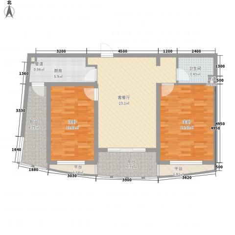宏城金棕榈2室1厅1卫1厨94.00㎡户型图