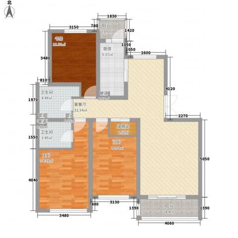 大华颐和华城3室1厅2卫1厨132.00㎡户型图