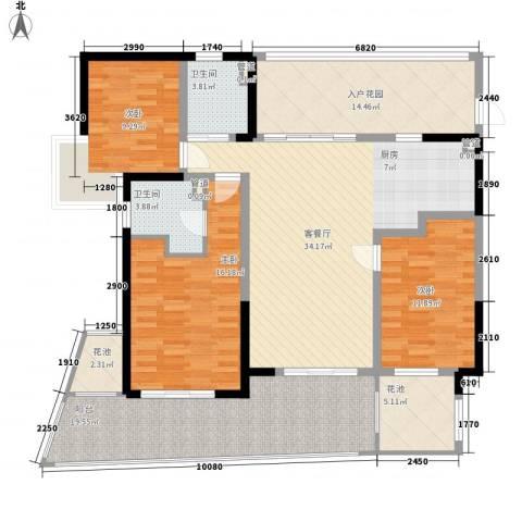 中信香水湾3室1厅2卫0厨129.00㎡户型图