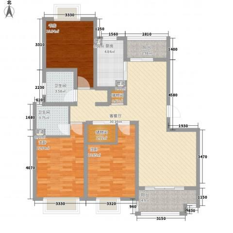 大华颐和华城3室1厅2卫1厨131.00㎡户型图