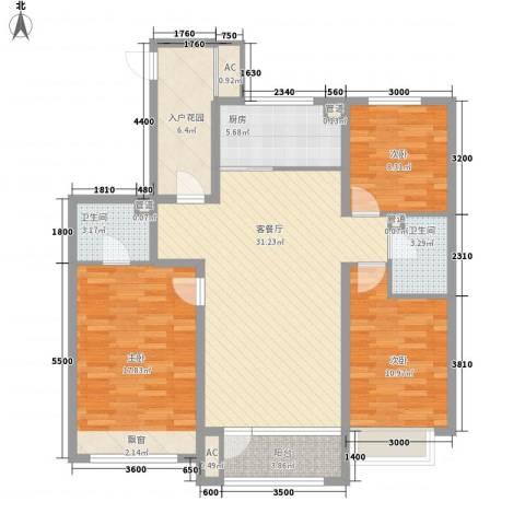 奉天大公馆3室1厅2卫1厨116.00㎡户型图