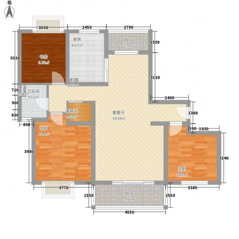 大华颐和华城3室1厅1卫1厨126.00㎡户型图
