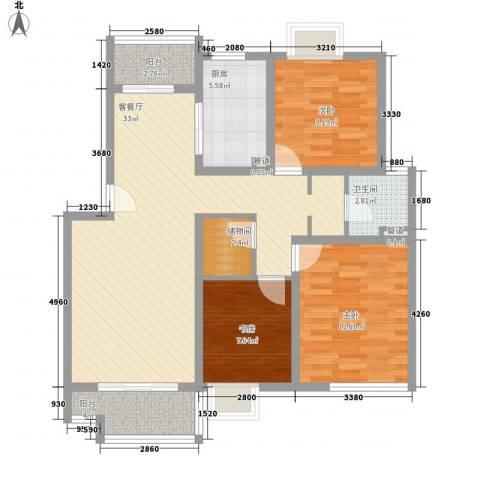 大华颐和华城3室1厅1卫1厨118.00㎡户型图