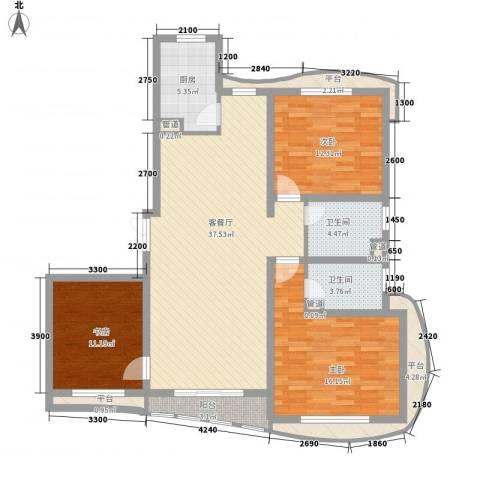宏城金棕榈3室1厅2卫1厨155.00㎡户型图