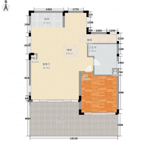 中信香水湾1室1厅1卫0厨125.83㎡户型图