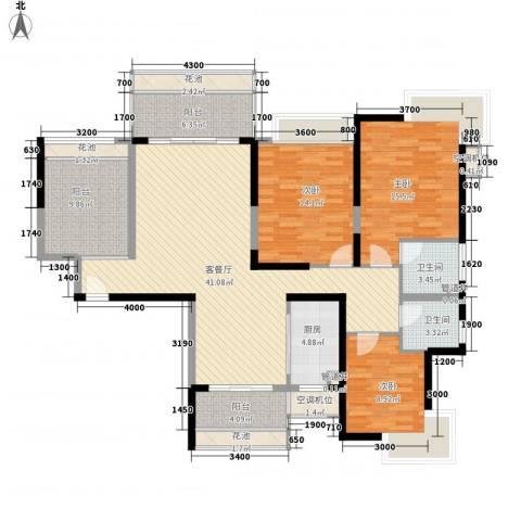 石竹花园3室1厅2卫1厨118.99㎡户型图