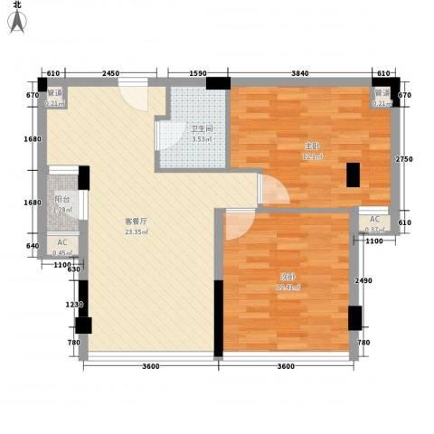 鼎峰品筑二期2室1厅1卫0厨69.00㎡户型图