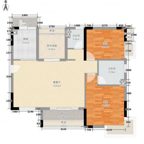 名汇嘉园2室1厅2卫1厨110.00㎡户型图