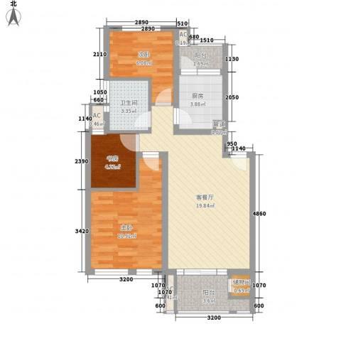 中锐山水映象3室1厅1卫1厨82.00㎡户型图