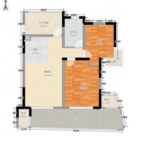 中信香水湾2室1厅1卫0厨93.00㎡户型图