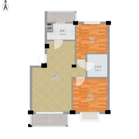 朗悦华园二期2室1厅1卫1厨74.00㎡户型图