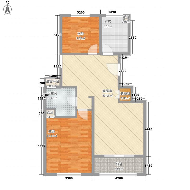 满庭春MOMA7.00㎡一期6、10、23楼标准层DB1户型2室2厅1卫1厨