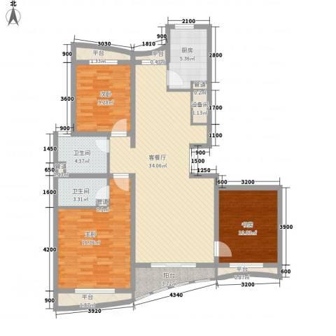 宏城金棕榈3室1厅2卫1厨144.00㎡户型图