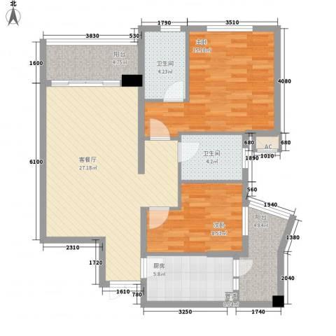 盛世华南2室1厅2卫1厨103.00㎡户型图