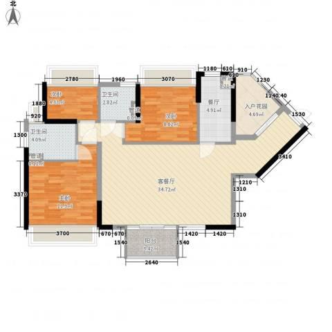 万科金域东郡3室2厅2卫0厨104.00㎡户型图