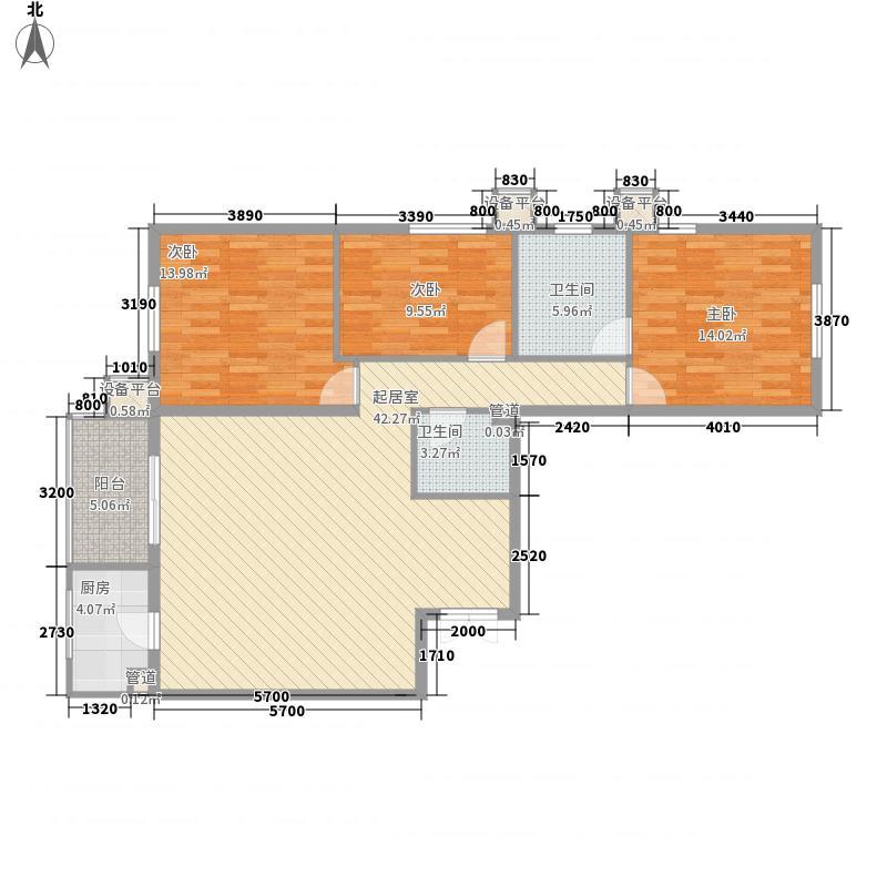 戛纳35号140.96㎡D6户型3室2厅2卫1厨