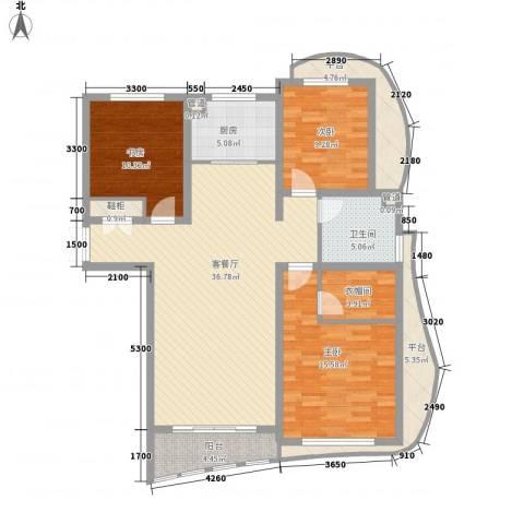 宏城金棕榈3室1厅1卫1厨129.00㎡户型图