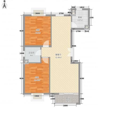 世纪星城・长城国际2室1厅1卫1厨106.00㎡户型图