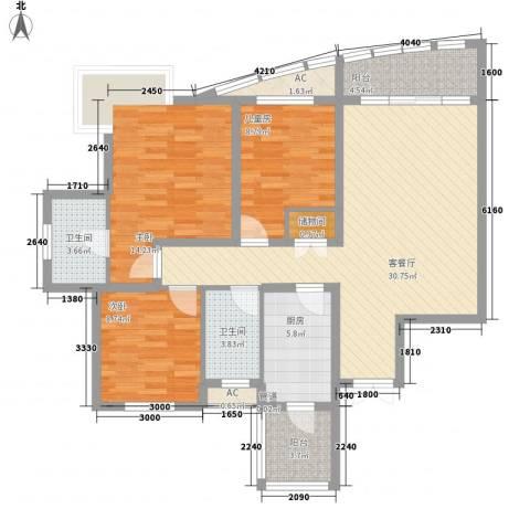 盛世华南3室1厅2卫1厨128.00㎡户型图