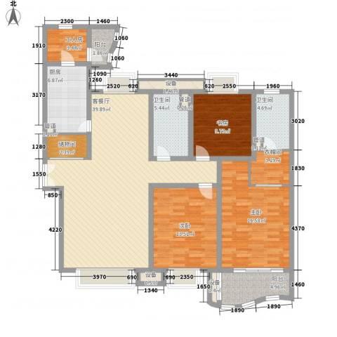 天际花园三期3室1厅2卫1厨168.00㎡户型图