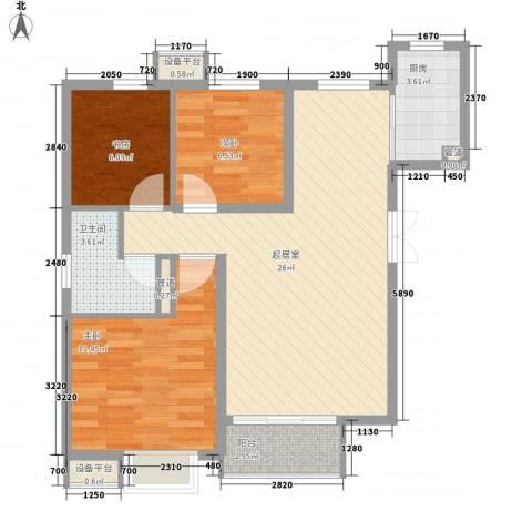 首开・国风美仑3室0厅1卫1厨90.00㎡户型图
