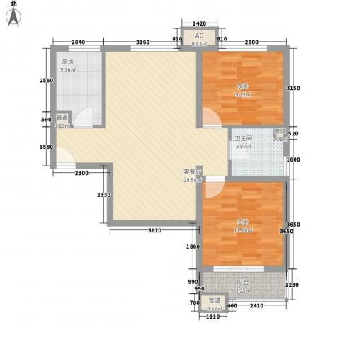 海上纳缇2室1厅1卫1厨92.00㎡户型图