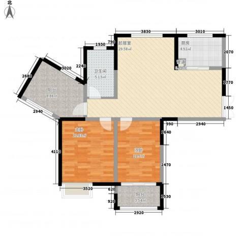 绿洲天逸城2室0厅1卫1厨108.00㎡户型图