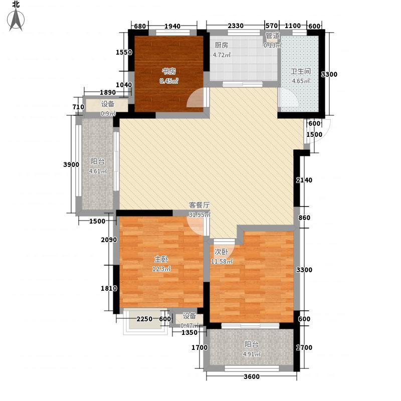 华润橡树湾110.00㎡华润橡树湾户型图二期H1户型3室2厅1卫1厨户型3室2厅1卫1厨