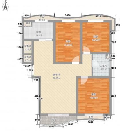 宏城金棕榈3室1厅1卫1厨133.00㎡户型图