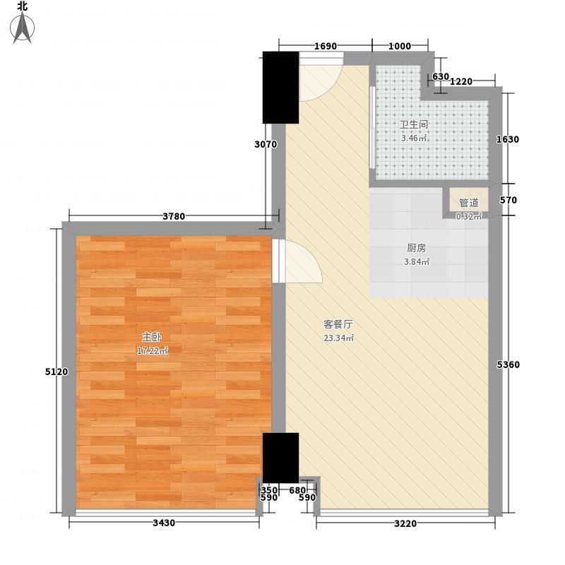 金宸国际户型图1室2厅1卫1厨
