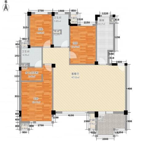 秀水花城3室1厅2卫1厨165.00㎡户型图