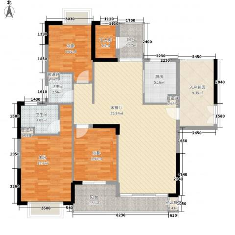 保利城二期3室1厅2卫1厨151.00㎡户型图
