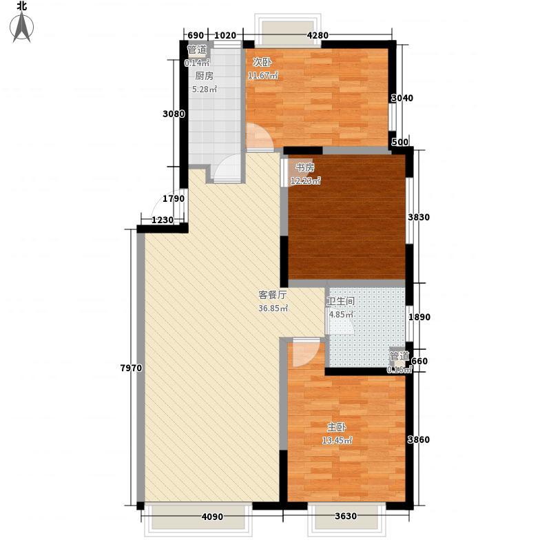 金地名京120.00㎡金地名京户型图F13室2厅1卫户型3室2厅1卫