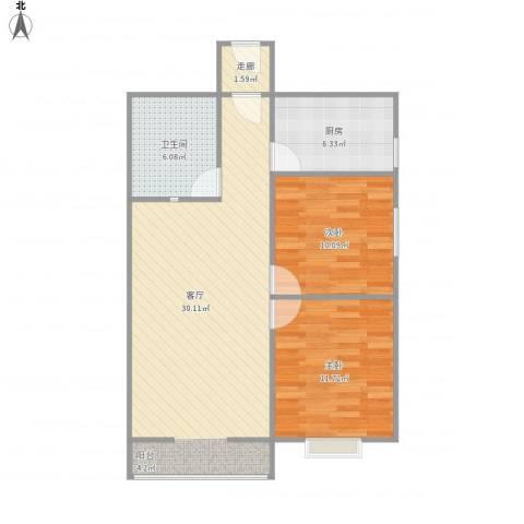 侯马时代广场2室1厅1卫1厨89.00㎡户型图