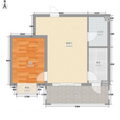 松浦观江国际1室1厅1卫1厨49.96㎡户型图