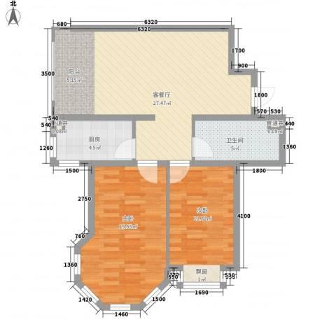 松浦观江国际2室1厅1卫1厨63.41㎡户型图