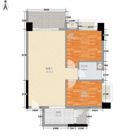 碧水天源枫景台2室1厅1卫1厨87.00㎡户型图