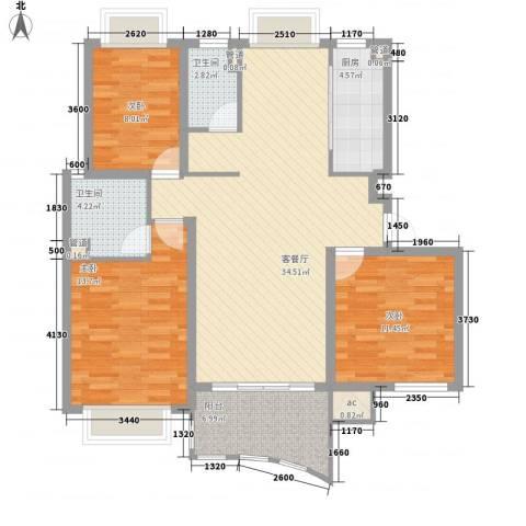 高尔夫国际花园3室1厅2卫1厨129.00㎡户型图