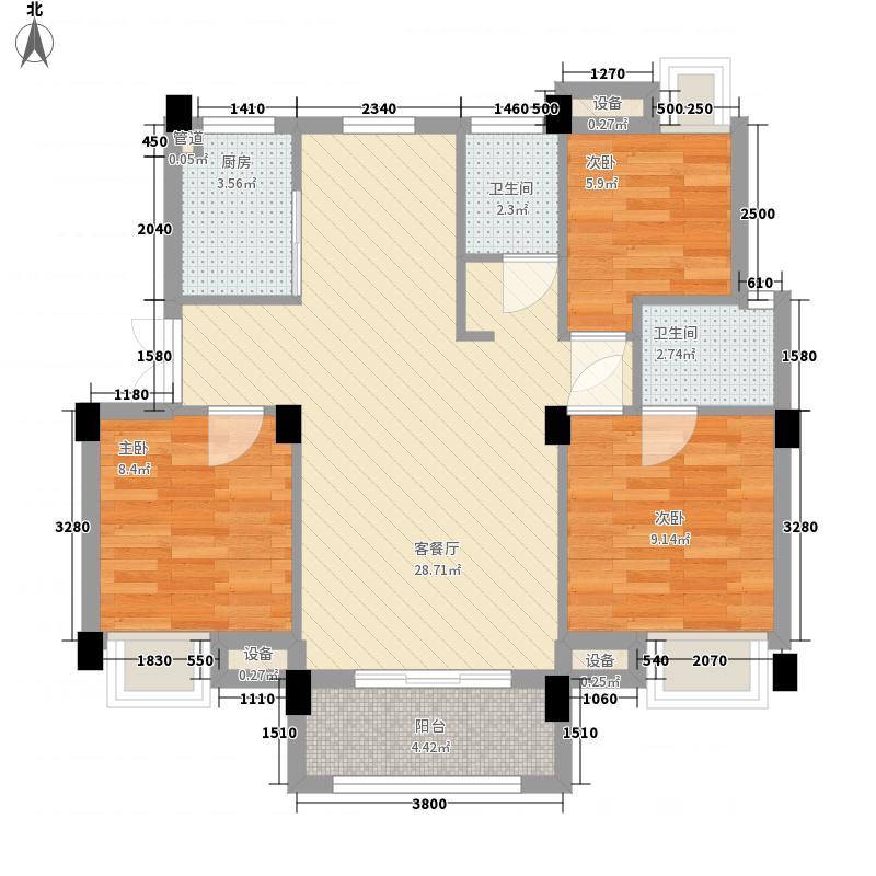 凯晟公园1号5.00㎡5#B户型3室2厅2卫1厨