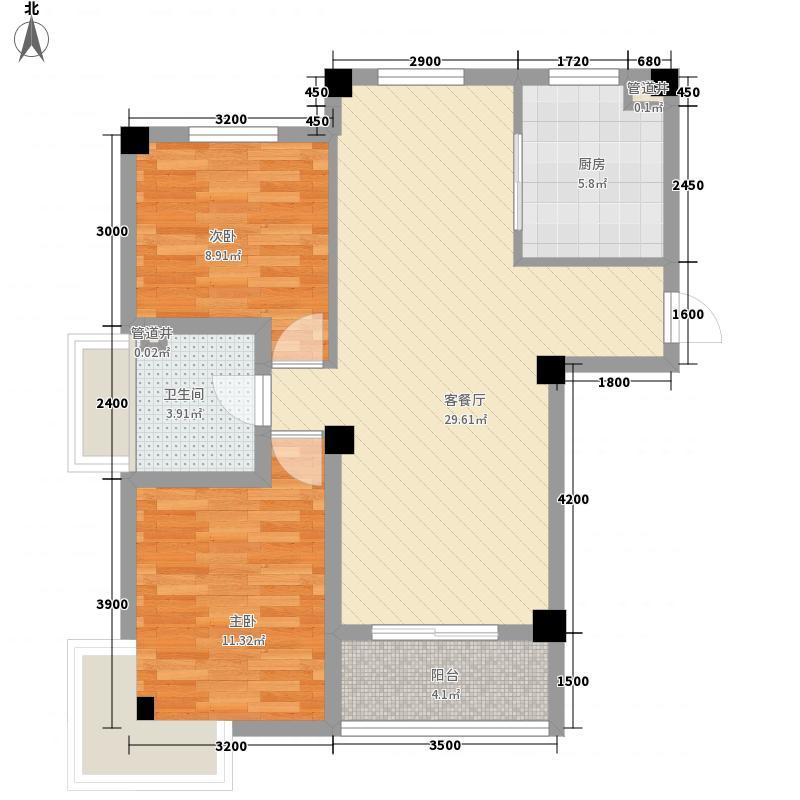 名湾86.40㎡B1\2-D户型2室2厅1卫1厨